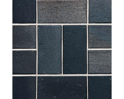 Клинкерная брусчатка Roben Schwabing schwarz-buntgeflammt, gefast, 200x100x40 мм